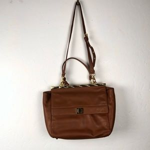 B. Makowsky Brown Leather 2 Convertible Crossbody